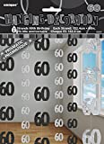 Unique Party - 55347 - Paquet de 6 Décorations de 60e Anniversaire Suspendues - 1,5 m - Noir Glitz