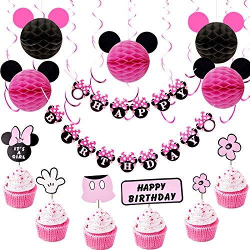 JOYMEMO Minnie Mouse Geburtstag Dekorationen für Mädchen mit rosa hängenden Wirbeln, Minnie Ohren Bienenwaben Bälle, Happy Birthday Banner und Cupcake Topper
