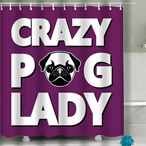 Zhizhangshpoing Duschvorhang verrückter Mops Lady T-Shirt Typographie Humor Vektor Illustration 152,4 x 182,9 cm - Humor Womens Pink T-shirt
