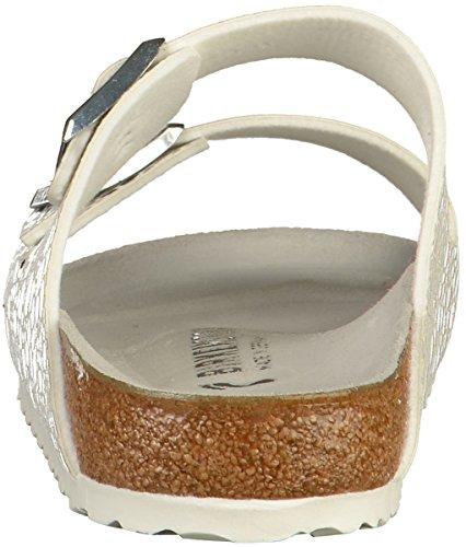 BIRKENSTOCK Damen Arizona Sandalen, Beige Silber(weiß - silber)
