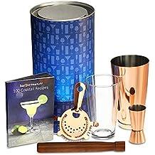 Cobre Boston Cocktail Shaker Set con cobre Boston Shaker lata, medidor, colador, Bar cuchara, mortero, Classic libro de recetas en tubo de regalo