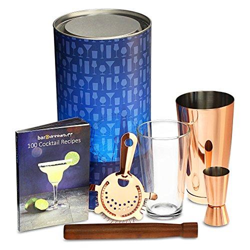 Cuivre cuivre de Boston Shaker à cocktail avec Boston Shaker en métal, verre doseur, cuillère de bar, Passoire, Pilon, livre recette classique en tube cadeau