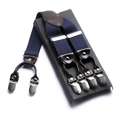 Robusto Uomini Braces JIERKU Bretelle da uomo Pelle Bretelle 6 Fibbie Y Indietro regolabili elastici durevoli Forti clip metalliche