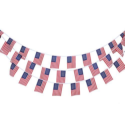 MagiDeal 10m 30pcs Bandiera Americana Stringa Bunting Bandiera Ghirlanda Decorazione Giardino Casa