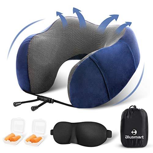 Blusmart Reisekissen Nackenkissen Set Weiches & Komfortables Nackenhörnchen mit Memory-Schaum Premium Nackenstütze mit GRATIS Schlafmaske und Ohrenstöpsel - blau