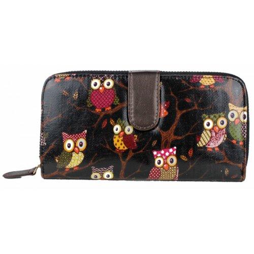 Miss Lulu-Borsa da donna, a portafoglio, motivo: gufi (Owl Black)