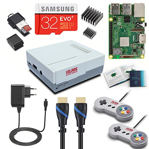 V-Kits Raspberry Pi 3 Model B+ (B Plus) Retro Arcade Gaming Kit mit 2 klassischen USB Controllern (DE-Edition)