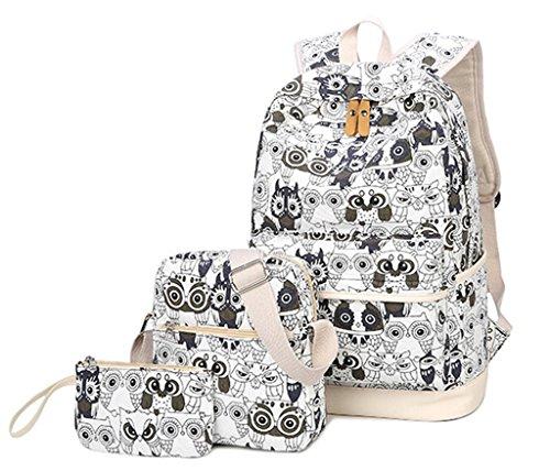 Mädchen Damen Canvas Eule Schulrucksack Set Teenager Kinder Jugendliche Rucksack +Schultertasche +Geldbeutel/Mäppchen Causal Rucksack Freizeitrucksack Daypacks Backpack Weiß