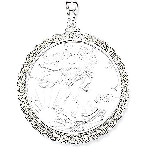 Sterling Silver 40,6 x 3,1 millimetri corda Coin lunetta Pendant