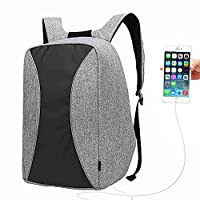 17 Inch Laptop Backpack with USB Port, UBaymax Men Canvas Waterproof Daypack Rucksack for School Travel Hiking (grey)