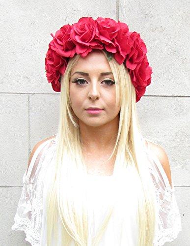 Grande rose rouge Guirlande de fleurs rond écritures elfiques Cordon Bandeau Couronne de cheveux Couronne Festival 992 * exclusivement Vendu par Starcrossed Beauty *