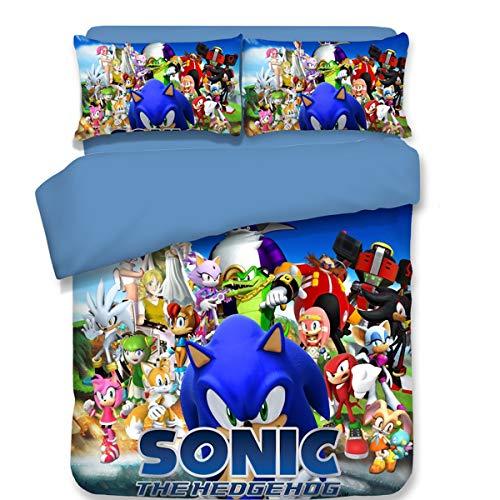 twäsche-Set Sonic The Igel, 3-teilig, Sonic The Igel und Mario, Bedruckt, mit Zwei Kissenbezügen (Keine Decke), Baumwollmischung, Sonic11, King Size ()
