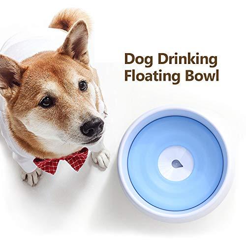 Blusea Hund trinkt schwimmende Schüssel Hund Wasserschüssel spritzwassergeschützte Wasserschüssel mit Schwimmscheibe für Hunde Katzen Haustier -