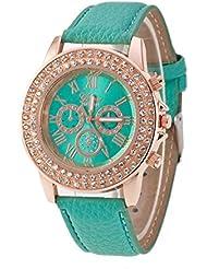 Mujeres Reloj - Geneva Reloj para mujeres, correa de cuero color verde menta