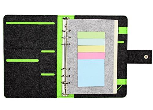 hossty Wollfilz A5, Business Notebook nachfüllbar Schreiben Journal Cover mit Business Card Pocket Pen Halter, Travel Diary Cover mit Magnetverschluss Einheitsgröße schwarz (Perforierte Linie Papier)