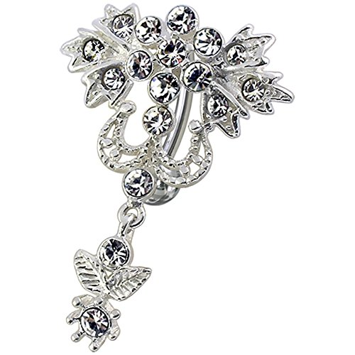 White Crystal Stein Trendy Blume Reverse Bar Design Sterling Silber Bauch Bars Piercing