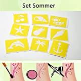 Tattoo Schablonen Sommer Set (9 Stück) Selbstklebend Kinderschminken Airbrush