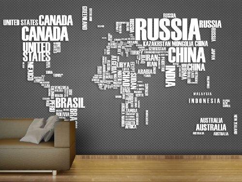 Fototapete Wordcloud Map Grey - weitere Größen und Materialien wählbar - DEUTSCHE PROFI QUALITÄT von Trendwände