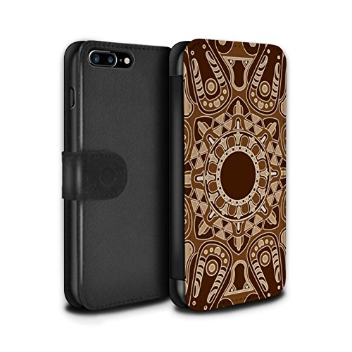 STUFF4 PU-Leder Hülle/Case/Tasche/Cover für Apple iPhone 7 Plus / Pack 15pcs Muster / Mandala Kunst Kollektion Achteck/Sepia