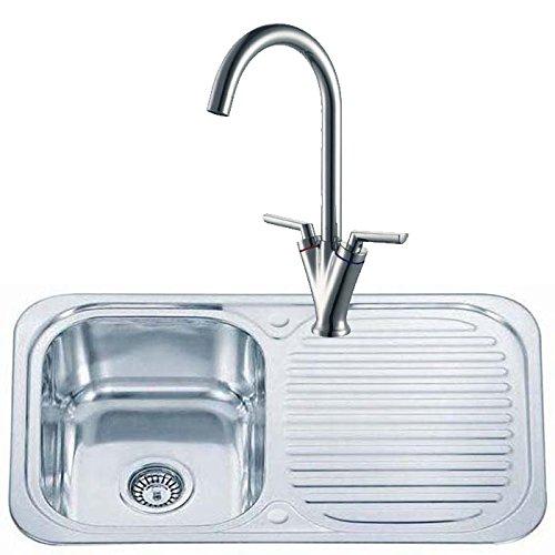 Lavandino da cucina reversibile in acciaio inox da incasso lavandino con scolo e rubinetto da cucina