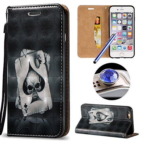 Etsue Handytasche für iPhone 6S/iPhone 6 4.7 Zoll Brieftasche Hülle,iPhone 6S/iPhone 6 4.7 Zoll Lederhülle Handyhülle Flip Hülle Leder Bookstyle Hülle Vintage Flip Wallet Ledertasche Schutz Hülle Scha Spielkarte
