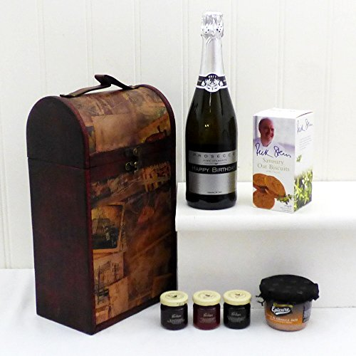 75cl Prosecco and Delicious Delights Food Hamper in a Vintage style Keepsake Wine Chest with Personalised Happy Birthday - Gift ideas for Mum, Dad, him, her, 18th, 21st, 30th, 40th, 50th, 60th, 70th, Friend