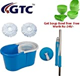 #10: GTC 360° Spin Floor Cleaning Easy Bucket PVC Mop with 2 Microfiber Heads Get Soup Bowl Free (Random Color)