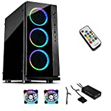 Emobil W- V RGB Gaming Tower PC ATX Gehäuse Temp Glass 5x LED RGB Lüfter mit Funkfernbedienung