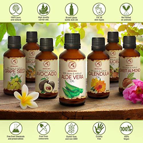 Aloe Vera Öl reines, 100% naturreines, 50 ml, Glasflasche, Aloe Vera-Öl Basisöl -Aloe Barbadensis, Brasilien, raffiniert, reich an Vitaminen A, B1, B2, B6 and B12, hat feuchtigkeitsspendende revitalisierende Eigenschaften, Intensive Pflege für Gesicht, Körper, Haare, Haut, Nägel, Hände, für Schönheit / Massage/ Wellness/ Kosmetik/ Körperpflege von AROMATIKA - 2