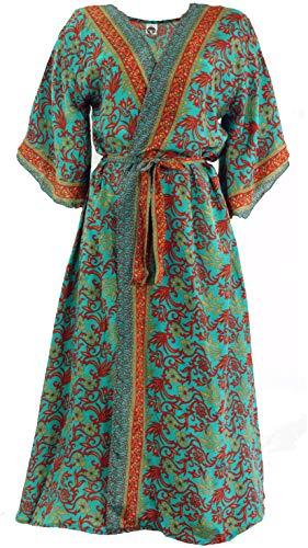 Guru-Shop Kimonokleid, Boho Kimono, Kimonomantel, Damen, Türkis, Synthetisch, Size:38, Lange & Midi-Kleider Alternative Bekleidung