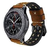 Pour Gear S3 Bracelet, iBazal Gear S3 Frontier / Classic Bracelet de Montre 22mm Vintage Véritable Bracelet en Cuir pour Samsung Gear S3 Frontier / Classic SM-R760 [Style Chic] - Chic Marron