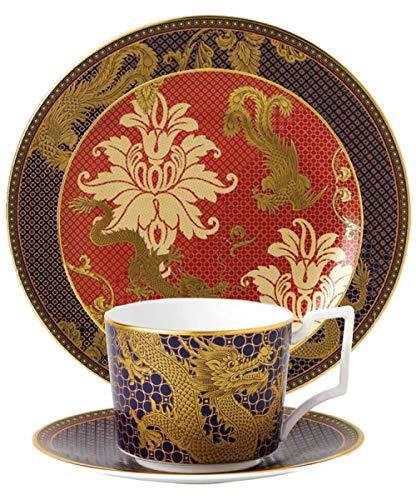 Geschirr Longfeng Chengxiang Teehaus Restaurant Home Wohnzimmer Hochwertige Bone China Kaffee Tee Snack Cup Dish Set Dragon Cup Vierteiliges Set Große und Kleine Tasse Eine Platte