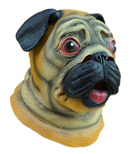 Youtumall Nette Mops-Hund Latex Kopfmaske Tierkopfbedeckungen für Halloween-Kostüm-Party (Mops (Halloween Mensch Hund Kostüm Und)