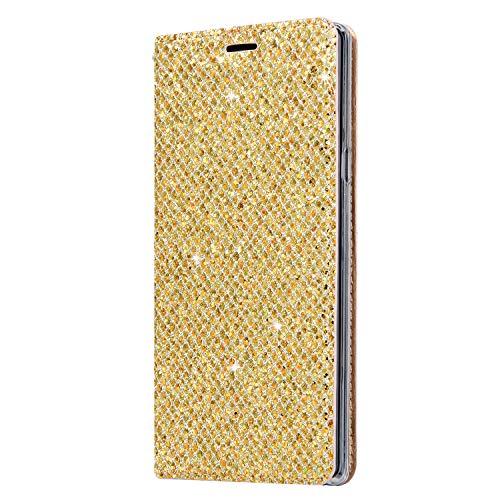 Karomenic PU Leder Hülle kompatibel mit Samsung Galaxy Note 9 Bling Glänzend Glitzer Handyhülle Brieftasche TPU Silikon Schutzhülle Klapphülle Ledertasche Ständer Wallet Flip Case Etui,Gold