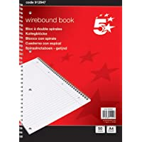 5 Star 912947 Notebook Wirebound 70gsm Ruled and Margin Perforated 50 Sheets, A4 [Pack of 10]