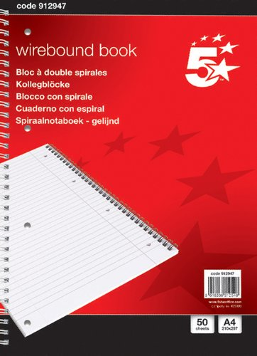 5-star-notebook-wirebound-70gsm-ruled-and-margin-perforated-100-pages-a4-pack-of-10