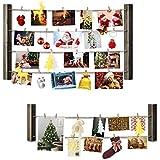 Love-KANKEI® Cadre Photo Mural Avec Corde Porte-Photos Avec 36 Petites Pinces Couleur Gris Combinaison 2 + 1 Belle Décoration de la Maison