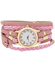 Charming Vintage Weave Wrap Leather Chain Bracelet Watch for Womens Ladies (Pink)