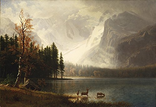 Albert Bierstadt - Estes Park Colorado Whytes Lake - Extra Large - Matte - Brown Frame (Albert Bierstadt Park Estes)