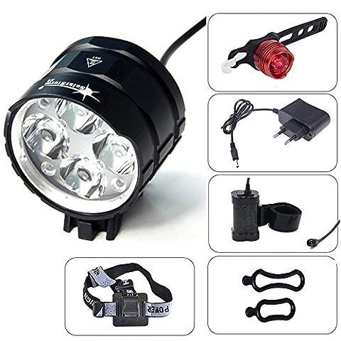 CDC® CREE T6 XML U2 4 LED 6000Lm Bicycle activité Bike Light HeadLight HEADLAMP Torch randonnée à vélo en aluminium externe Rechargeable Etanche, 8.4V, 7200mAh, 4 x 18650 batterie