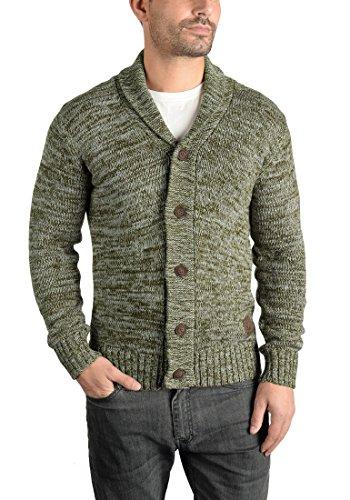 SOLID Philip Herren Strickjacke Cardigan Grobstrick mit Schalkragen aus 100% Baumwolle Meliert Ivy Green (3797)