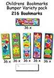 Childrens Bookmarks Bumper Variety Pack - 216 Bookmarks - 6 Designs - Great For School Rewards & Prizes