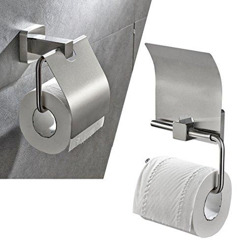Badaccessoires von BONADE - Edelstahl Toilettenpapierrollenhalter Klopapierrollenhalter Küchenrollenhalter Reserverollenhalter WC Papierhalter mit Deckel
