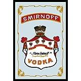 Empireposter - Smirnoff - Vodka - Größe (cm), ca. 20x30 - Bedruckter Spiegel Bedruckter Wandspiegel mit schwarzem Kunststoffrahmen in Holzoptik
