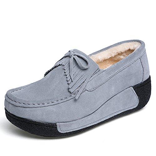 Z.suo Mocassins En Cuir Suédé Mocassins Confortables Mode Gris Et Chaussures De Conduite En Cachemire