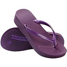 Hotmarzz Damen Zehentrenner Keilabsatz Sandalen Platform Flip Flops Maedchen Sommer Strand Hausschuhe Rutschen Schuhe Size 39 EU, Schwarz