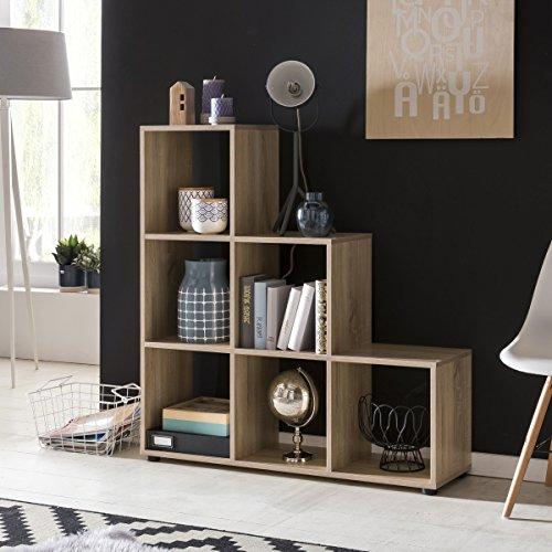 FineBuy Stufenregal LENA Sonoma Eiche Treppenregal für Ordner & Bücher 6 Fächer Holz | Design...