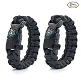 PSKOOK Paracord Survival Armband mit elastischen Schock Seil Kompass Whistle Feuer Starter Wildnis Taktische Notfall Ausrüstung Kit 2PCS (Schwarz)