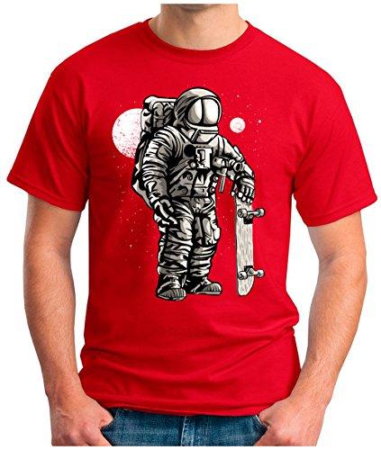 OM3 - ASTRONAUT-SKATER - T-Shirt SKATEBOARD LONGBOARD MOON STARS SPACE WELTRAUM KOSMOS SciFi PARODY FUN GEEK, S - 5XL Rot