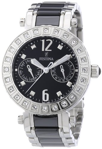 Festina Women's Quartz Watch with Black Dial Analogue Display and Black Stainless Steel Bracelet F16587/3